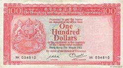 100 Dollars HONG KONG  1982 P.187d TB