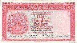 100 Dollars HONG KONG  1982 P.187d TTB