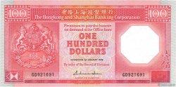 100 Dollars HONG KONG  1988 P.194b NEUF