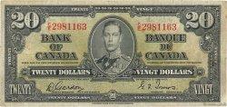20 Dollars CANADA  1937 P.062b TB