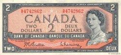 2 Dollars CANADA  1954 P.076b TTB+