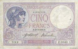 5 Francs VIOLET FRANCE  1918 F.03.02 TB