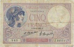 5 Francs VIOLET FRANCE  1925 F.03.09 B