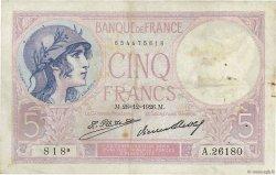5 Francs VIOLET FRANCE  1926 F.03.10 TTB