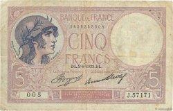 5 Francs VIOLET FRANCE  1933 F.03.17 B+