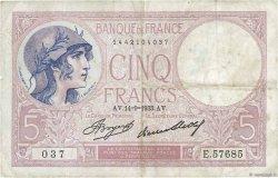 5 Francs VIOLET FRANCE  1933 F.03.17 TB+