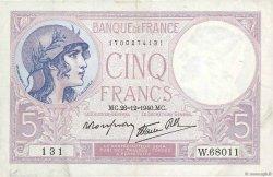 5 Francs VIOLET modifié FRANCE  1940 F.04.18