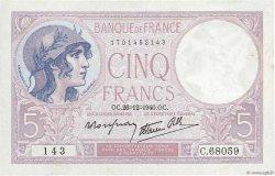 5 Francs VIOLET modifié FRANCE  1940 F.04.18 TTB