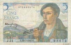 5 Francs BERGER FRANCE  1943 F.05.02 TB