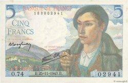 5 Francs BERGER FRANKREICH  1943 F.05.04 fST