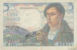 5 Francs BERGER FRANCE  1945 F.05.06 TB