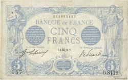 5 Francs BLEU FRANCE  1915 F.02.32 aVF