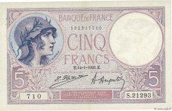 5 Francs VIOLET FRANCE  1925 F.03.09 SUP