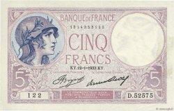 5 Francs VIOLET FRANCE  1933 F.03.17 pr.SUP