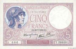 5 Francs VIOLET modifié FRANCE  1939 F.04.02 pr.SPL