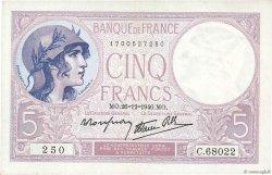 5 Francs VIOLET modifié FRANCE  1940 F.04.18 SUP à SPL