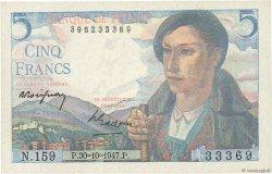 5 Francs BERGER FRANCE  1947 F.05.07a SUP+