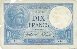 10 Francs MINERVE FRANCE  1916 F.06.01 pr.TB