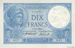 10 Francs MINERVE FRANCE  1916 F.06.01 SUP