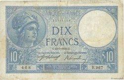 10 Francs MINERVE FRANCE  1916 F.06.01 B