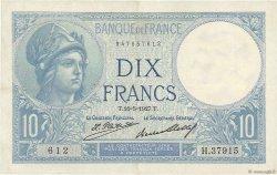 10 Francs MINERVE FRANCE  1927 F.06.12 TTB+