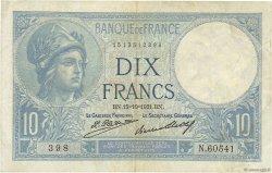 10 Francs MINERVE FRANCE  1931 F.06.15 pr.TTB