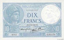 10 Francs MINERVE modifié FRANCE  1940 F.07.23 pr.NEUF
