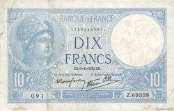 10 Francs MINERVE modifié FRANCE  1939 F.07.02 TB+