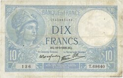 10 Francs MINERVE modifié FRANCE  1939 F.07.03 TB