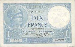 10 Francs MINERVE modifié FRANCE  1939 F.07.04 TTB+