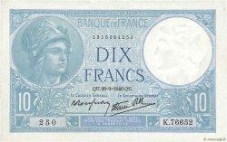 10 Francs MINERVE modifié FRANCE  1940 F.07.15 TTB+
