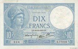10 Francs MINERVE modifié FRANCE  1940 F.07.16 TTB
