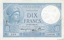 10 Francs MINERVE modifié FRANCE  1941 F.07.28 TTB