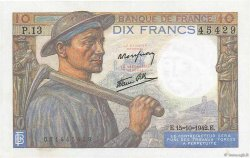 10 Francs MINEUR FRANCE  1942 F.08.04 SUP+