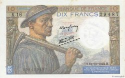 10 Francs MINEUR FRANCE  1942 F.08.04 SUP