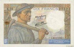 10 Francs MINEUR FRANCE  1942 F.08.06 TTB