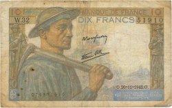 10 Francs MINEUR FRANCE  1942 F.08.06 B