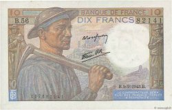 10 Francs MINEUR FRANCE  1943 F.08.09 SUP