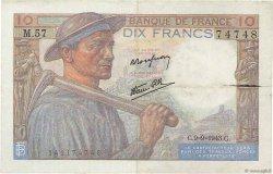 10 Francs MINEUR FRANCE  1943 F.08.09 TB+