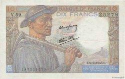 10 Francs MINEUR FRANCE  1943 F.08.09 TTB