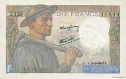 10 Francs MINEUR FRANCE  1947 F.08.17 TTB