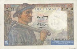10 Francs MINEUR FRANCE  1947 F.08.18 TTB+