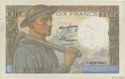 10 Francs MINEUR FRANCE  1949 F.08.22 TTB