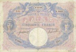 50 Francs BLEU ET ROSE FRANCE  1907 F.14.20 pr.TB