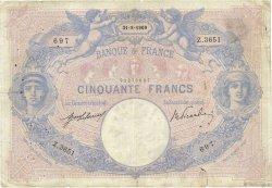 50 Francs BLEU ET ROSE FRANCE  1909 F.14.22 pr.TB