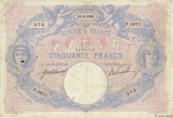 50 Francs BLEU ET ROSE FRANCE  1909 F.14.22 TB