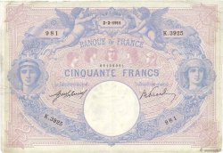 50 Francs BLEU ET ROSE FRANCE  1911 F.14.24 TTB