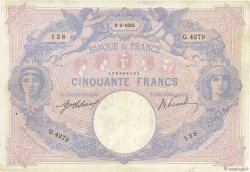 50 Francs BLEU ET ROSE  FRANCE  1912 F.14.25