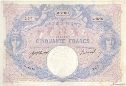 50 Francs BLEU ET ROSE  FRANCE  1913 F.14.26