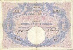 50 Francs BLEU ET ROSE FRANCE  1914 F.14.27 TB+